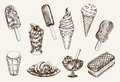 Ice cream set of vector sketches Royalty Free Stock Photos