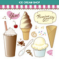 Ice cream shop illustration set toppings collection includes twist sugar cone hand dipped or scooped in dish spoon waffle cone Royalty Free Stock Photography