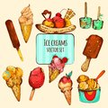 Ice Cream Sketch Colored Royalty Free Stock Photo