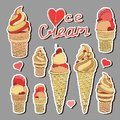 Ice cream sticker or badge. Isolated icons. Set of colorful vector badges with hand drawn ice creams in yellow creamy