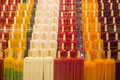 Ice cream sticks of icream in diffrent colors sorted in vertical lines picture taken in barcelona spain Stock Photography