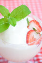 Ice cream strawberry with mint in a glass bowl on plaid fabric Stock Images