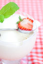 Ice cream strawberry with mint in a glass bowl on plaid fabric Royalty Free Stock Photos