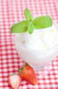 Ice cream strawberry with mint in a glass bowl on plaid fabric Stock Image