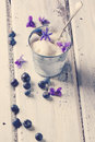 Ice cream with sugared violets served in little metal pail on old wooden table in retro filter effect see series Stock Images