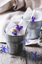 Ice cream with sugared violets served in little metal pail on old wooden table see series Stock Image