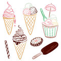 Ice cream summer and chocolate vector set Stock Photography