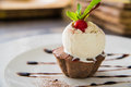Ice cream sundae cupcake Royalty Free Stock Photo