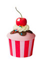Ice cream sundae cupcake isolated against white Stock Image