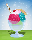 Ice cream sundae sweet with stars Royalty Free Stock Images