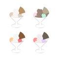 Ice cream sundae vector illustration set isolated on white background