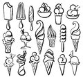 Ice cream symbol set with line drawing Stock Image