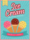 Ice Cream Template, Banner, Flyer or Menu Card. Royalty Free Stock Photo