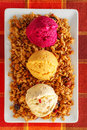 Ice cream three different autumn flavor creams with dried fruits and muesli Royalty Free Stock Photos