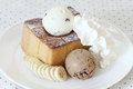 Ice cream and toasted bread and banana with Royalty Free Stock Photography