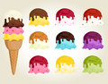 Ice cream with topping collection Stock Photo