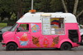 Ice cream van a pink ford transit parking near hyde park in sydney australia Royalty Free Stock Photos