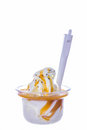 Ice cream vanilla with caramel topping dressing Royalty Free Stock Photography