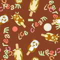 Ice cream vector seamless pattern on background