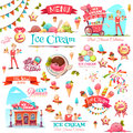 Ice cream vector set with banner icons and illustrations Royalty Free Stock Photo
