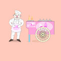 Ice cream vendor with cart abstract vector illustration Royalty Free Stock Photography