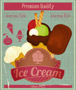 Ice cream vintage card menu dessert in retro style illustration Stock Image