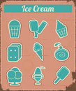 Ice cream vintage grunge set labels illustration Stock Photo