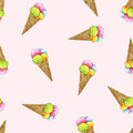 Ice cream in a wafer cone are on a pink background. Seamless pattern for design