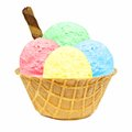 Ice cream in a waffle bowl four different colored scoops with wafer Stock Photography