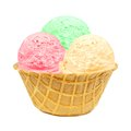 Ice cream in a waffle bowl three different colored scoops Stock Photos
