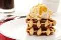 Ice cream and waffle dessert Royalty Free Stock Photo