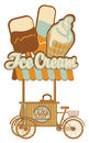 Ice cream on wheels tray for sales Royalty Free Stock Photography