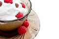 Ice-cream, whipped cream and raspberry Royalty Free Stock Image