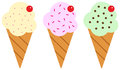 Ice creams illustration of three different vanilla strawberry and pistachio on white background Royalty Free Stock Photography
