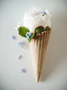 Ice creams immitation in waffle cone decorated mint leaves and flowers peonies flower in waffle cone with mint leaves herbarium Royalty Free Stock Photo