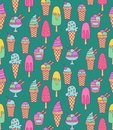 Ice creams doodle icons seamless vector pattern