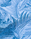 Ice crystals close up of forming on a window Stock Photography