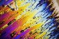 Ice crystals melting under polarized light microscope Royalty Free Stock Photo