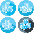 Ice cube icons different of cubes Royalty Free Stock Photography