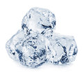 Ice cubes close-up  on white background. Clipping pats Royalty Free Stock Photo