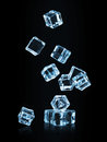Ice cubes falling on black background Royalty Free Stock Photo