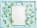 Ice cubes with frozen mint leaves inside in blue Turquoise tray and white ceramic board in center, copy space Royalty Free Stock Photo