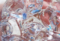 Ice cubes in a glass close up, top view. Royalty Free Stock Photo