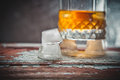 Ice cubes at the grocery whiskey Royalty Free Stock Photo