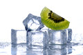 Ice cubes and kiwi Royalty Free Stock Photo