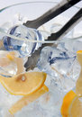 Ice cubes and lemon Royalty Free Stock Photography