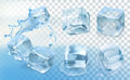 Ice cubes vector icons set with with transparency Stock Photo