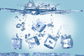 Ice cubes in water Royalty Free Stock Photo