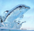 Ice dolphin light blue sculpture Stock Photo