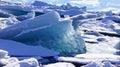 Ice drifting in jokulsarlon in in east fjords in iceland block glacier lake next to ringroad the on Stock Photo